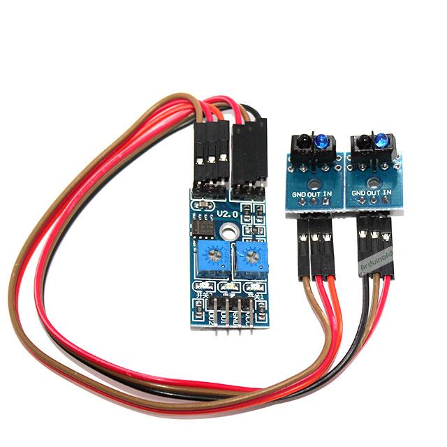 เซนเซอร์ infrared reflectance sensor Obstacle avoidance module track sensor ตรวจจับ 2 จุด สำหรับ smart car พร้อมสายไฟ