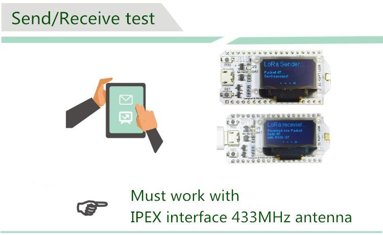 [Upgraded Version] LoRa 433MHz SX1278 + WiFi ESP32 + OLED 0 96