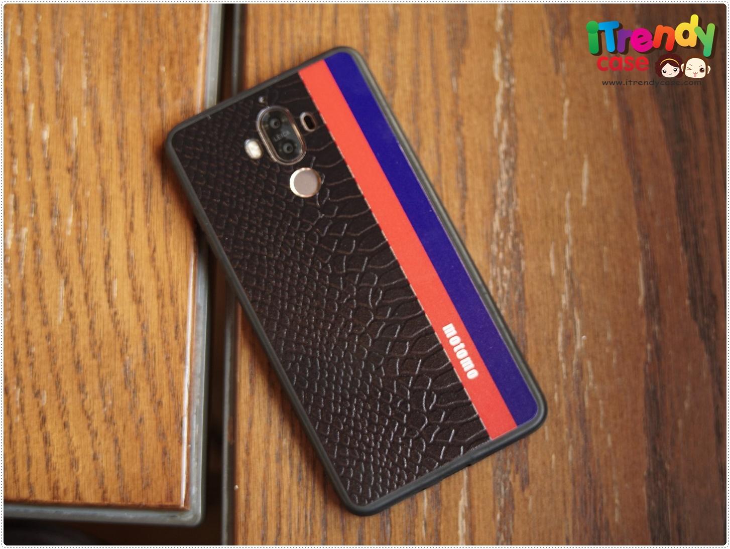 Huawei Mate9 - เคสลายหนังสีดำ คาดแดงน้ำเงิน motomo