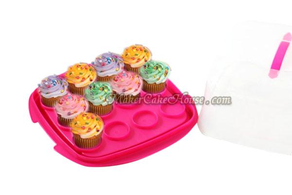 กล่องพลาสติกสำหรับใส่เค้ก หรือคัพเค้กแบบสี่เหลี่ยม