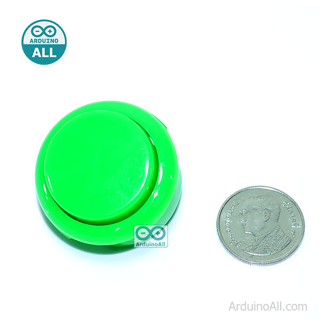 Arcade Push Button สวิตช์ปุ่มกดติดปล่อยดับ สีเขียว