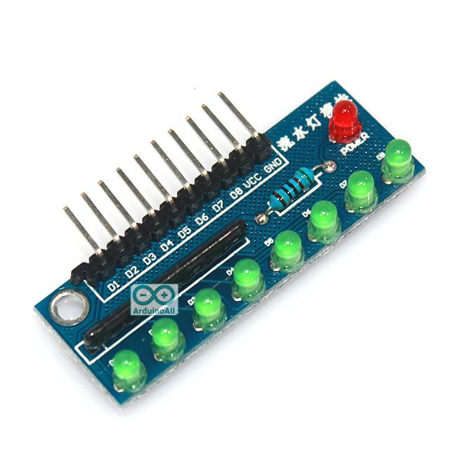 บอร์ดทดลอง LED 8 ดวง สำหรับ Arduino สีเขียว