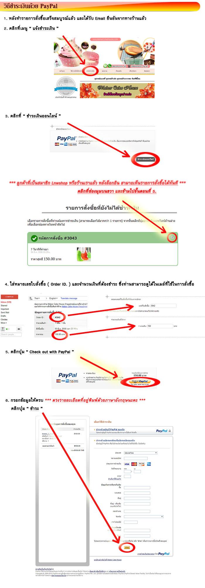 ขั้นตอนการชำระค่าสินค้าด้วยบัตรเครดิต หรือเดบิตผ่านระบบ PayPal