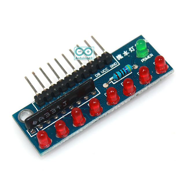 บอร์ดทดลอง LED 8 ดวง สำหรับ Arduino สีแดง