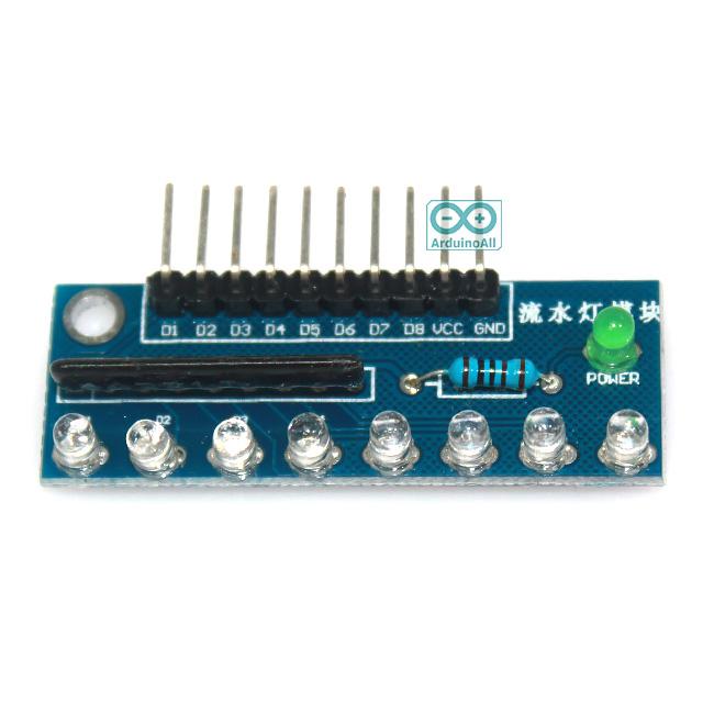 บอร์ดทดลอง LED 8 ดวง สำหรับ Arduino สีน้ำเงิน