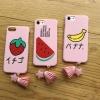 iPhone 7 - เคสแข็งลายผลไม้ พื้นหลังสีชมพ พร้อมพู่ห้อย น่ารัก