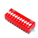 DIP switch DIP 2.54mm สวิตช์แบบ DIP ระยะห่างระหว่างขา 2.54mm ขนาด 10 ช่อง