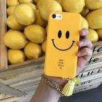 iPhone 7 Plus - เคสแข็งลาย หน้ายิ้ม Smile สีเหลือง พร้อมพู่ห้อย น่ารัก
