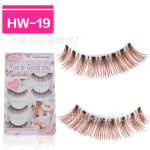 HW-19# ขนตาเอ็นใส สีน้ำตาล (ขายปลีก) เเพ็คละ 5 คู่ ขายยกเเพ็ค