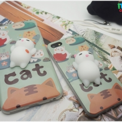 iPhone 7 - เคส TPU หลังนุ่มนิ่ม 3D ลายแมวขาว พื้นหลังเขียว
