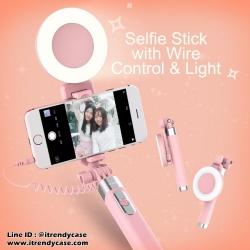 ไม้ถ่ายรูป Rock mini Selfie Stick AUX & LED Light รุ่นสอง แท้