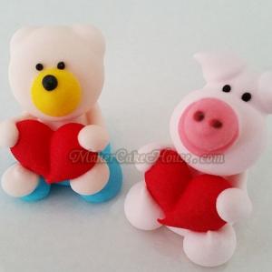 ตุ๊กตาไอซิ่งรูปหมีและหมูกอดหัวใจ ( 9 ชิ้น )