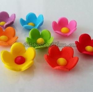 น้ำตาลไอซิ่งดอกไม้คละสี ( 25 ชิ้น )