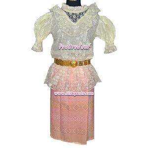 8TR5D002 เสื้อลูกไม้-สีครีม+ผ้าถุงสั้น-ผ้าไทยสีชมพูโอรส (เสื้อฯ+ผ้าถุงฯ *ตรวจสอบรายละเอียด)