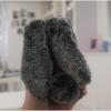 iPhone 6 Plus, 6s Plus - เคส TPU กระต่ายขนปุยหูยาว สีเทาขาว