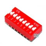 DIP switch DIP 2.54mm สวิตช์แบบ DIP ระยะห่างระหว่างขา 2.54mm ขนาด 8 ช่อง