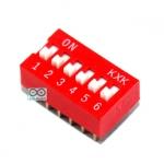 DIP switch DIP 2.54mm สวิตช์แบบ DIP ระยะห่างระหว่างขา 2.54mm ขนาด 6 ช่อง
