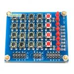 บอร์ดทดลอง 3 in 1 Keypad Matrix Keyboard 4x4 พร้อม Switch 4 ปุ่ม และ LED 8 ดวง