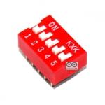 DIP switch DIP 2.54mm สวิตช์แบบ DIP ระยะห่างระหว่างขา 2.54mm ขนาด 5 ช่อง