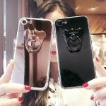 iPhone 7 Plus - เคสหลังเงา พร้อมที่ตั้งแหวนด้านหลังรูปหมี