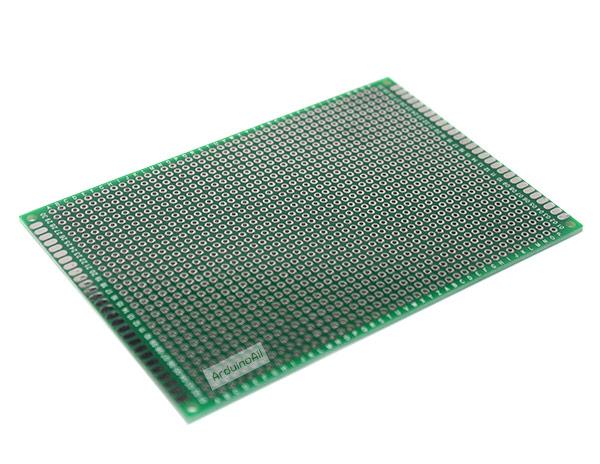 แผ่นปริ๊น PCB อเนกประสงค์แบบ 2 หน้าอย่างดี สีเขียว ขนาด 8x12 เซนติเมตร
