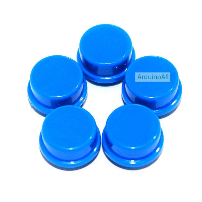 ปุ่มกด สำหรับสวิตช์ ขนาด 12x12mm จำนวน 5 ชิ้น สีน้ำเงิน